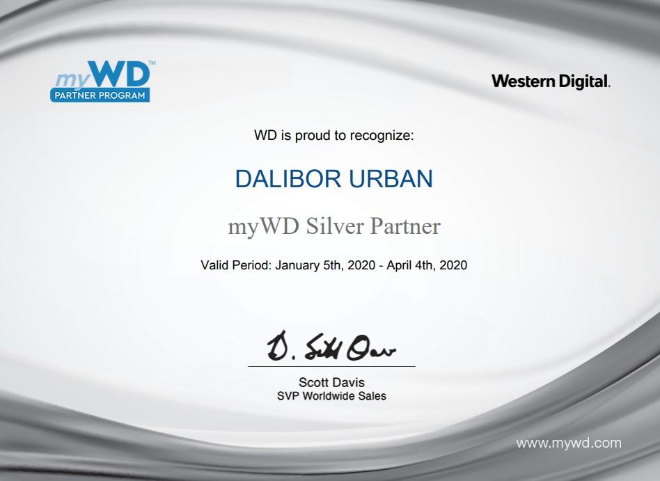 Western Digital certifikát